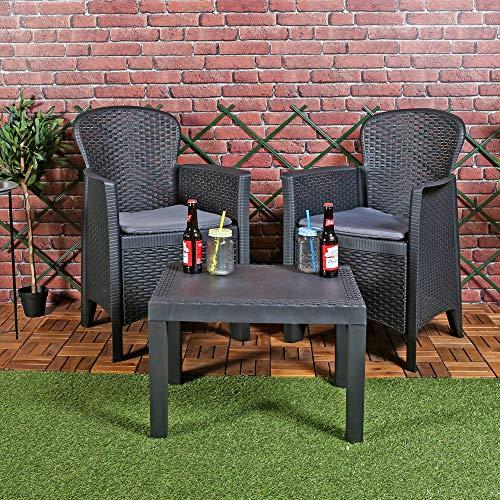 URBNLIVING 3pc Outdoor Garden Furniture Cushioned Black Rattan Table Chair Bistro Conversation Set