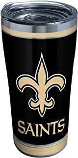 Tervis 1323180 NFL New Orleans Saints - Touchdown Insulated Tumbler with Wrap and Black Travel Lid, 16 oz - Tritan, Clear ...