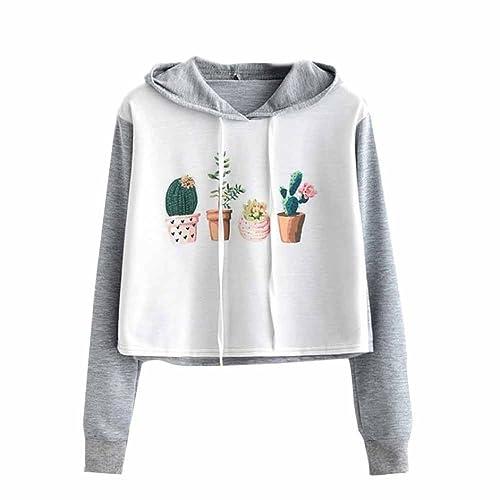 HARRYSTORE Women Hoodie Crop Top Sweatshirt Jumper Sweater Cactus Print  Long Sleeve Pullover Tops 371de2104