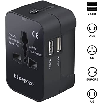 Bluegogo Travel Adapter,Universal All in One Worldwide Travel Adapter Wall Charger AC Power Plug Adapter Power Plug Wall Charger with Dual USB Charging Ports for Graduation Trip USA EU UK AU-USB Cable