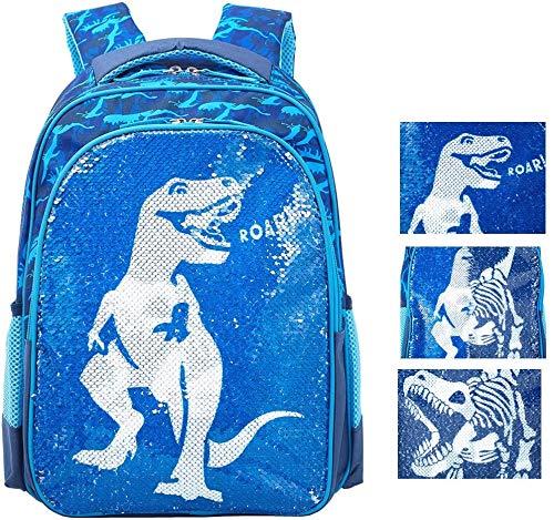 Reversible Sequin School Backpack Lightweight Little Kid Book Bag for Preschool Kindergarten Elementary (17', Dinosaur)