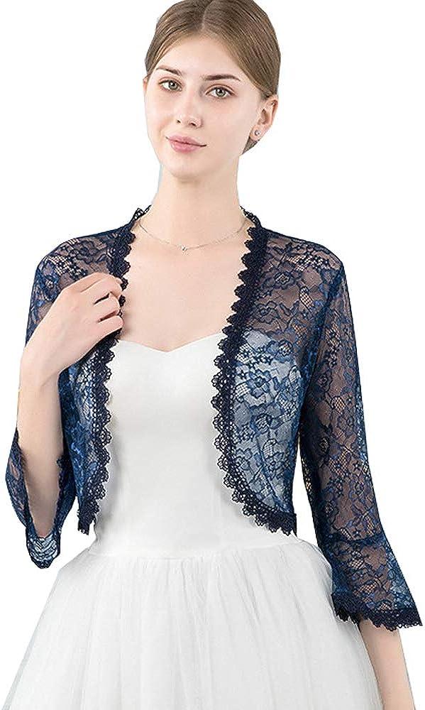 Women's 3 4 Sleeve Lace Crochet Cardigan Bolero Shrugs Open Front Cropped Shrug Bridal Shawl Wrap