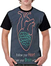 Lightly Graphic T-Shirt,Quotes,Follow Your Dreams Doodle S-XXL Men Baseball Short Sleeve Shirts