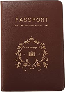 SODIAL Organizer Passport cover plastic Passport Holder Vine Of Flower-Coffee