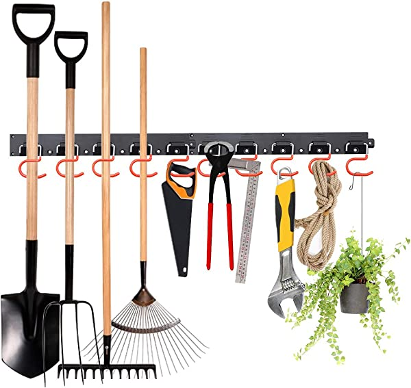 MOHOO Adjustable Storage System 64 Inch Wall Holders For Tools Wall Mount Tool Organizer Garage Organizer Garden Tool Organizer Heavy Duty Tools Hanger With 4 Rails 20 Hooks