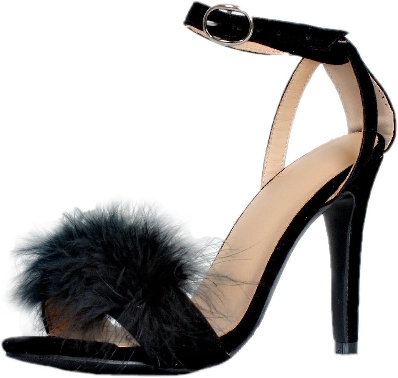 Kolnoo Damen BFCM Furball High Heel Slingback Schnalle Mode Sandalen