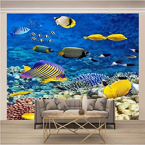 Foto Mural Escuela de peces de colores 3D Murales no tejido para Decoración de Casa, Dormitorio Habitación, Oficina Decoración Murales Tamaño personalizado-350X250cm (137x98inch)