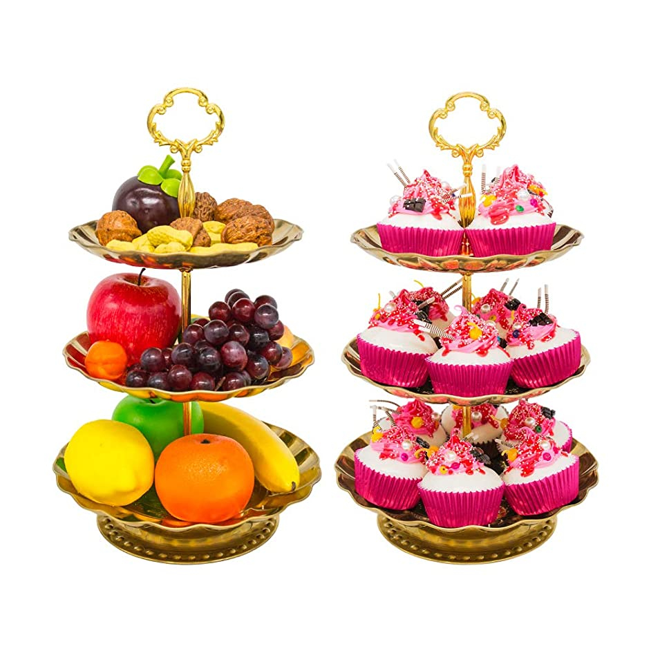 Three Tier Cake Stand and Fruit Plate, Imillet Stainless Steel Golden Cupcake Stand Serving Plates for Cakes Desserts Dried Fruit Candy Buffet (2 Pack)