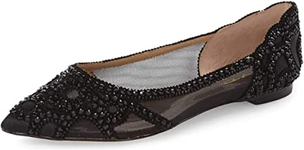 XYD Women Elegant Pointed Toe Rhinestone Flats Mesh Slip On Low Heel Wedding Bride Dress Shoes