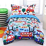 Wowelife Cars Toddler Bedding Set 4 Piece BlueToddler Bed Set with Comforter, Flat Sheet, Fitted Sheet and Pillowcase(Transportation)