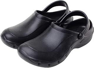 Parcclle Zapatos de jardín ligeros para cocina, hospital, trabajo, antideslizantes, unisex, color negro 101