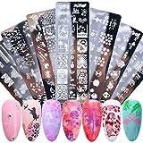 Dancepandas Placas para Uñas de Animales 7PCS Reutilizables Estampador Uñas Decoracion Placas de Estampado de Uñas Nail Art Stamping Plates Diy Nail Art para Niñas