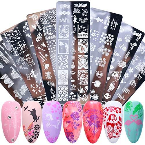 Dancepandas Stampini Stencil Unghie 7PCS Nail Art Stamping Animali Fiori Immagine Nail Template Immagine Di Fai Da Te per Nail Art