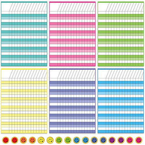 6 Pieces Laminated Dry Erase Incentive Chart Reward Chores Chart for Learning Responsibility Classroom School Attendance Homework Progress Tracking Pads with 240 Reward Stickers, 21 Rows x 15 Columns