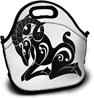 Picnic Bag, Pattern Printing, Zodiac Aries, Abstract Monochrome Goat Figure Swirled Horns and Floral Curly Details, Lunch Bag, Sundries Bag, Shopping Bag, Black and White, 5.5x11x11 inch