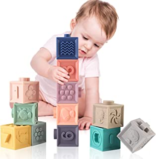 MIXI Baby Toys Blocks, SoftBlocks for Babies 6 Month Baby ToysTeething ToysInfant Toys Baby Building BlocksMontessori Developmental Toys with Numbers Animals Shapes for Baby 6 Months and Up 12PCS