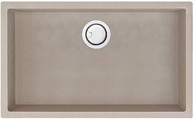 Transolid ZTSS3018-13 Zero Granite Super Single Bowl Dual Mount Kitchen Sink, Champagne