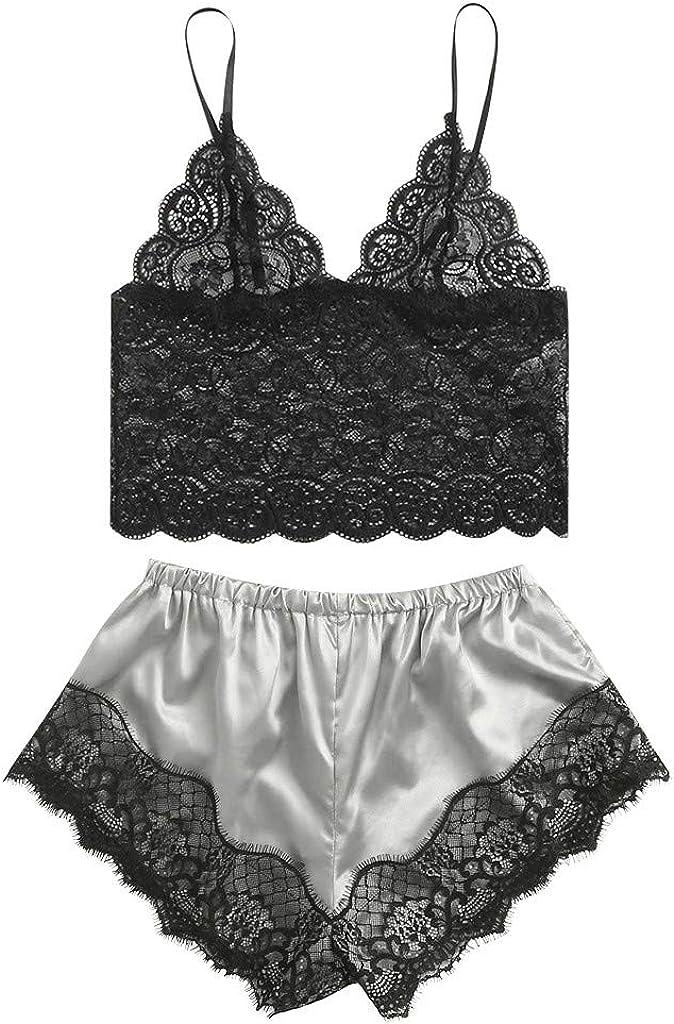 Women Satin Lace Silk Camisole Shorts Set,Sexy Lingerie Underwea