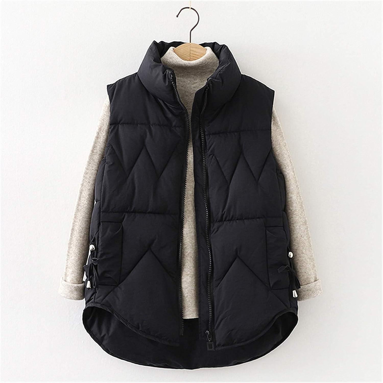 LYLY Vest Women Winter Women Vest Cotton Down Solid Turn Down Collar Warm Waistcoat for Women Casual Thicken Winter Sleeveless Jacket Vest Warm (Color : Black, Size : XL)