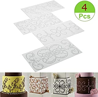 (Set of 4) Cake Fondant Impression Mat - Scroll Vine Lace Texture Embossed Embossing Mat, Cake Decorating Tools for Cupcake Wedding Cake Decoration