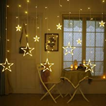 Rexez -Star Light Curtain Decorations (10 Star,138 LED,8 Flashing Modes in Warm White Color)