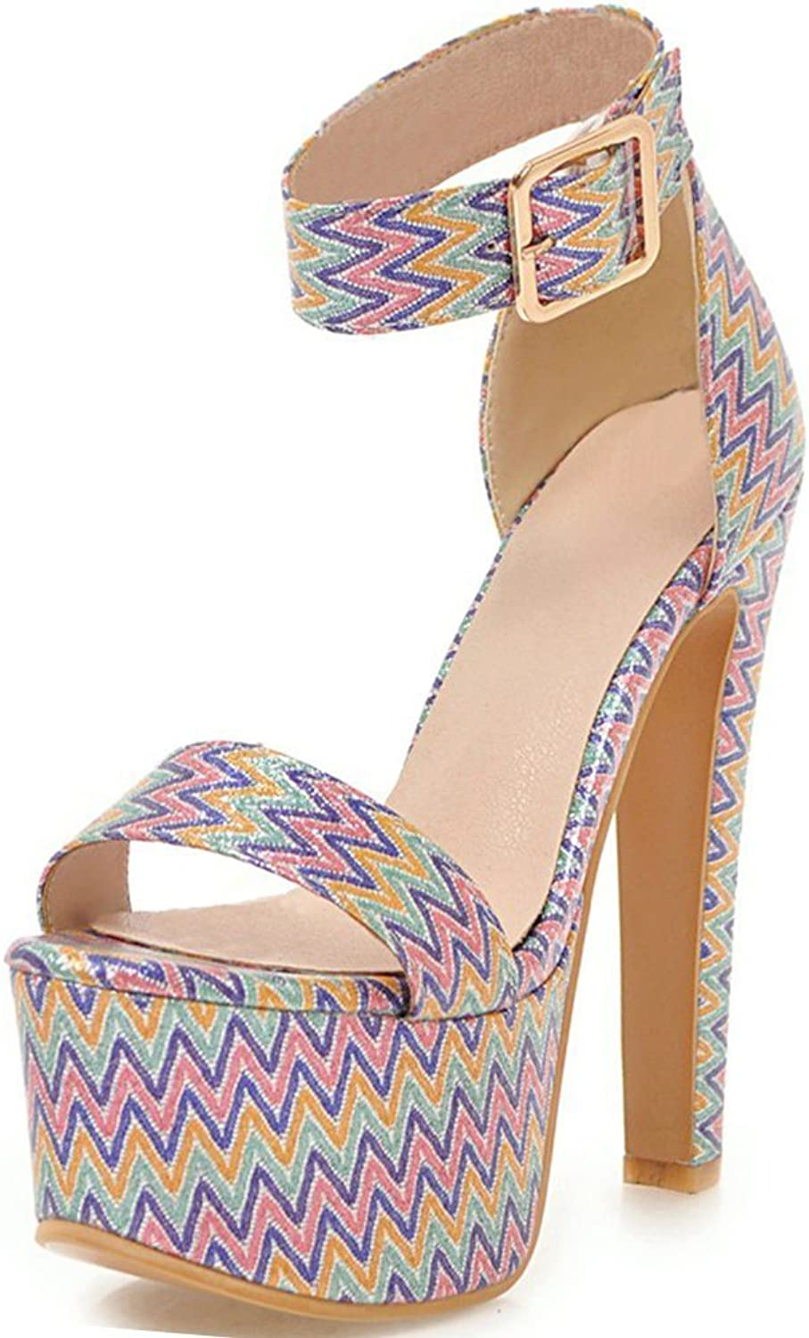 SaraIris Women Chunky High Heel with Platform Summer shoes Buckle Strap Party Sandals