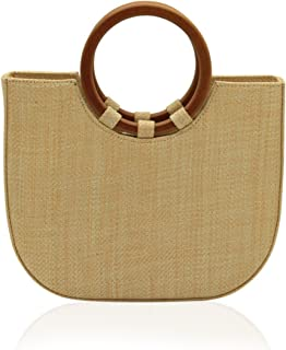 2c497473a3 Women s Straw Top Handle Tote Shoulder Handbag with Leather Strap for Summer  (Big)