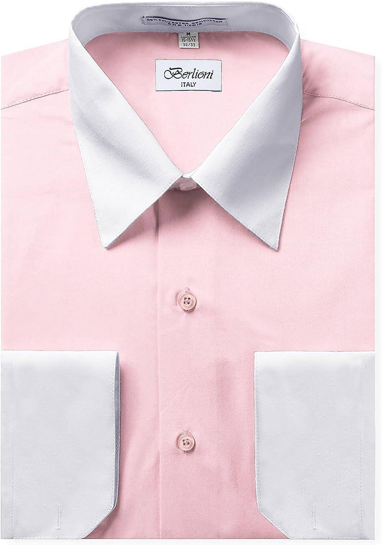 Berlioni Italy Men's Long Sleeve Two Tone Premium Dress Shirt