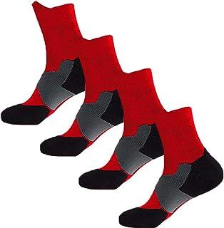 Elite Basketball Compression Socks 4 Pairs Cushion Athletic Crew Socks for Men Boy Kid