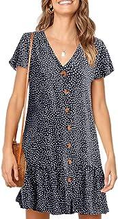 Imysty Womens Polka Dot V Neck Button Down Ruffles Loose Mini Short T-Shirt Dress