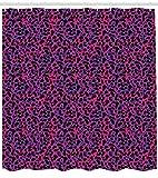 ABAKUHAUS Urwald Duschvorhang, Leopard Haut Safari 80er, mit 12 Ringe Set Wasserdicht Stielvoll Modern Farbfest & Schimmel Resistent, 175x200 cm, Königsblau Pink Schwarz