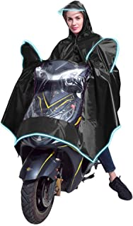 YOTHG Motorbike Poncho with Reflective Strip Safe Riding PVC Waterpoof Wide Hat Brim Raincoat Large Rain Cape Mobility Scooter Rainwear Cover for Adults