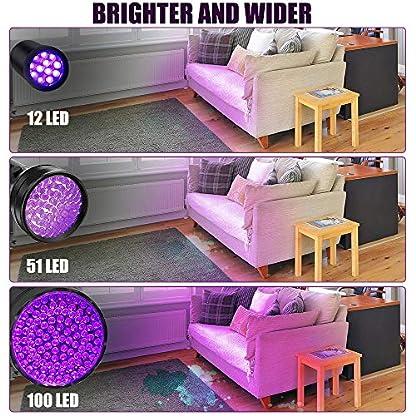 Anipaw Black Light UV Flashlight, Portable 100 LED UV Light Blacklight Detector for Pet (Dog/Cat) Urine Detection, Pet Stains, Bed Bug, Matching with Pet Odor Eliminator 8