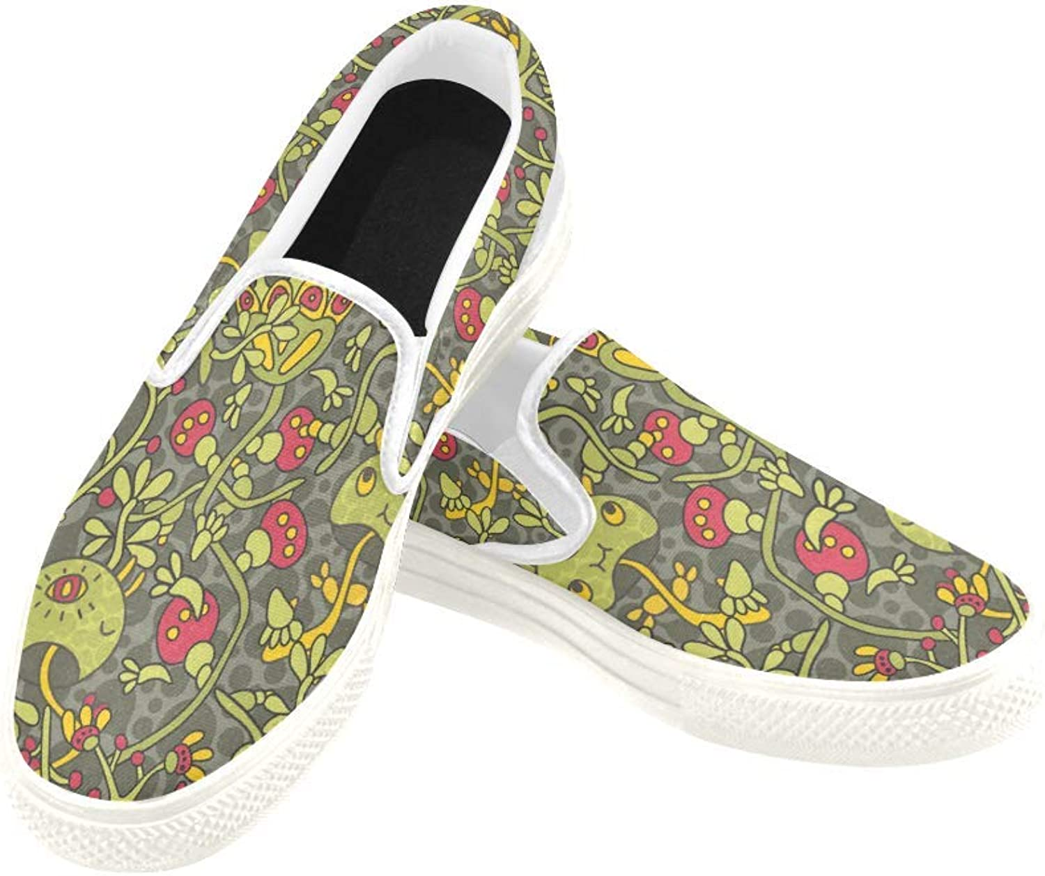 InterestPrint Womens Slip On Canvas shoes Loafers Mushroom Girls Classic Casual Sneakers Flats