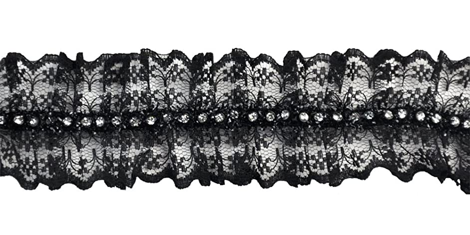 Belagio Enterprises 1-3/4-inch Gathered Rhinestone Lace Trim 10-Yard, Black
