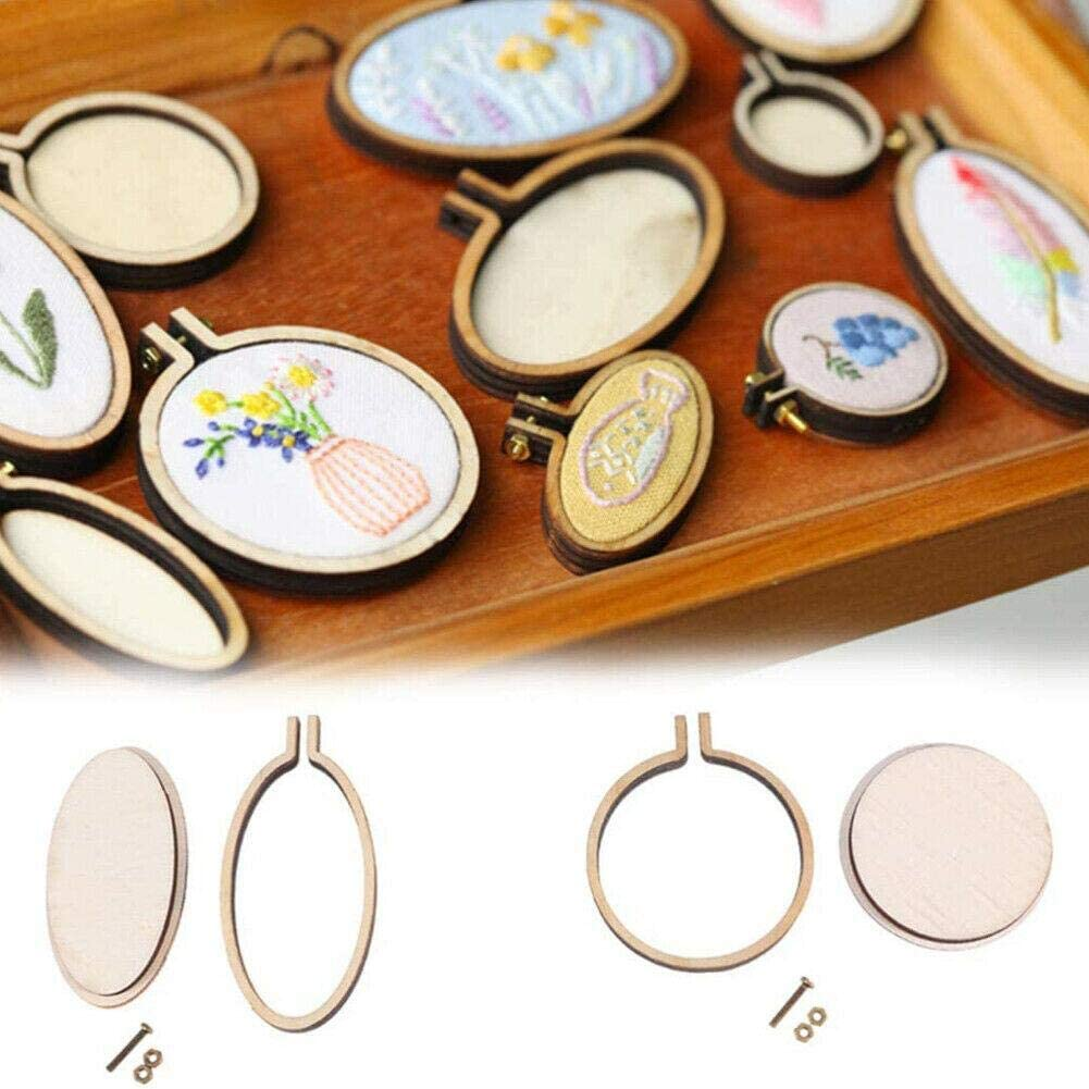 10pcs L 5.7cmx5cm 10 Pieces Small Rings Embroidery Hoops Mini Wooden Cross Stitch Hoop Mini Round Oval Wood Hoops for Frame Craft and Hanging