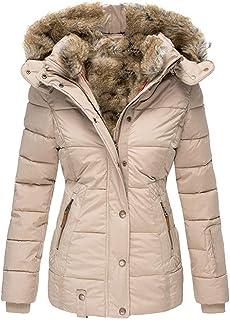 Womens Coats Winter Zipper Hooded Faux Fur Inside Down Jackets
