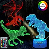 3D Dinosaur Night Light, 3D Illusion Lamp Three Pattern and 7 Color Change Decor Lamp with Remote Control for Living Bed Room Bar, Best Gift Toys for Boys Girls (Multi-Colored)