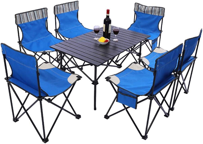 ZFF Campingtische Aluminium Falttisch Einstellen mit 6 Tragbar Stuhl Schemel zum Picknick Draussen Wandern Grill Angeln Leicht 7 Stück