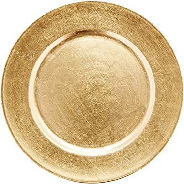 Chargeit by Jay 13  Classic Gold Round Chargers Plates, Set of 6