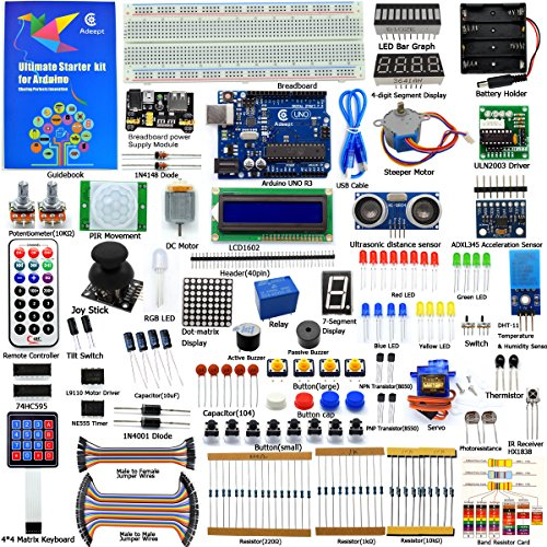 Adeept Ultimate Starter Kit Compatible with Arduino IDE, LCD1602, Servo Motor, Relay, Processing and C Code, Arduino Beginner Starter Kit with 140 Pages Guidebook