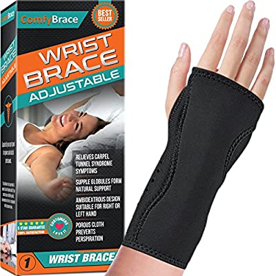 Night Wrist Sleep Support Brace - Fits Both Hands - Cushioned to Help With Carpal Tunnel and Relieve and Treat Wrist Pain ,Adjustable, Fitted-ComfyBrace