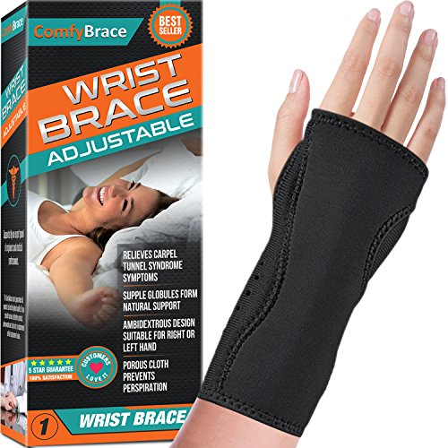 Night Wrist Sleep Support Brace - Fits Both Hands - Cushioned to Help with Carpal Tunnel and Relieve...