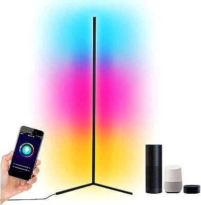 ETRVBSWE GDFGTH LED Lampadaire Smart RGB Corner Lampadaire Décoration Nordique Maison Lampadaires Couleur Changeante Lampe sur Pied pour Salon Chambre Et Salle De Jeux APP Contrôle Bluetooth