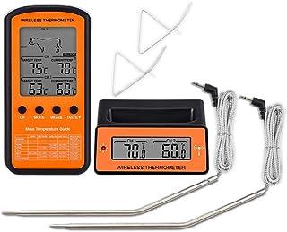 YUZI Termometro Senza Fili Misuratore di Temperatura Alimentare Display Lcd Doppia Sonda 8 Modalità per Forno Grill