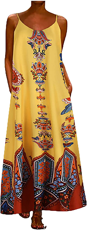 Maxi Dress Women's Summer Crew Neck Sleeveless Loose Printed Casual Sling Long Dress Maxi Skirt Boho Floral Elegant
