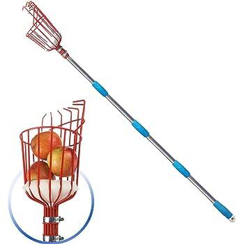 GLORYA Fruit Picker - 8ft Length Adjustable Lightweight Fruit Catcher Tool - Stainless Steel Apple Orange Pear Mango and Other Fruit Tree Picker Pole with Basket