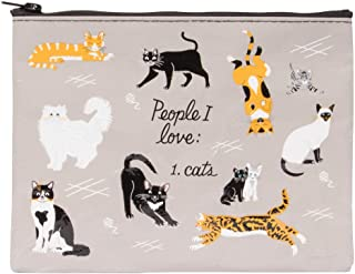 Blue Q Zipper Pouch, People I Love: Cats, Constructed Out of 95% Recycled Material, Measures 7.25 by 9.5 inches (QA270)