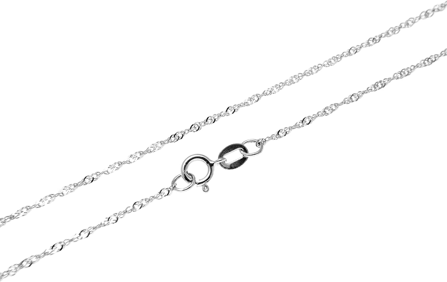 Arthur's Jewelry Product 14k Solid White 1mm Chain OFFicial shop Gold Singapore Neckla