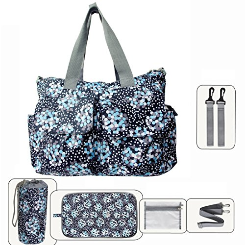 My Share Mall Original Floral Designer Diaper Tote Bags(Blue)